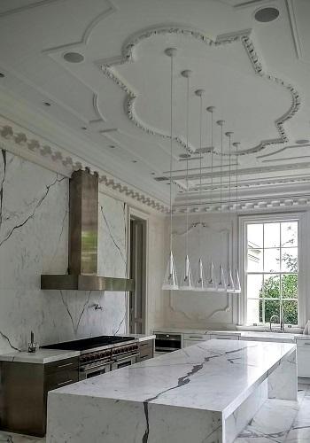 Decorative plaster ceiling ornaments custom designed.